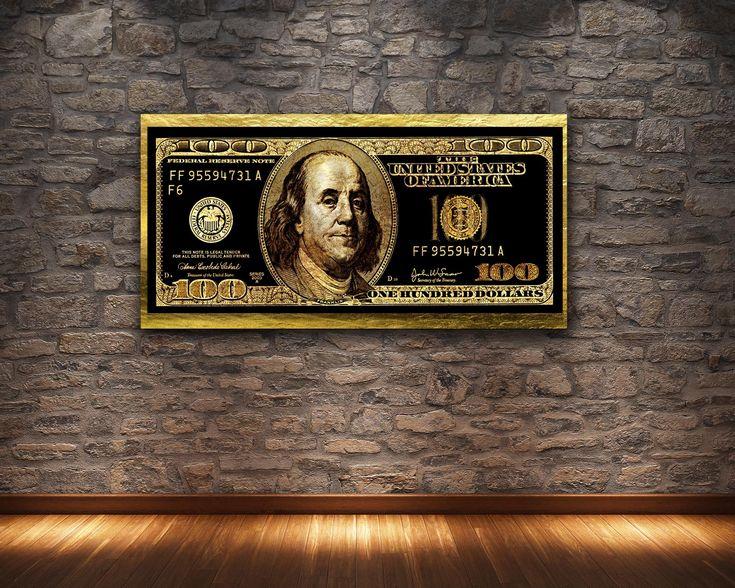 GOLD HUNDRED DOLLAR BILL ART PRINT