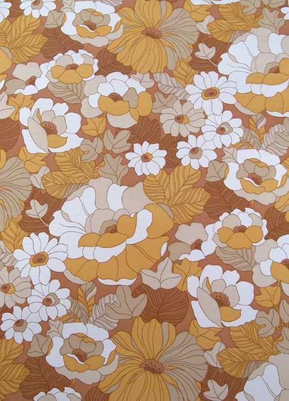 vintage wallpaper  cream and brown flowers  per yard by thriftypyg, $14.00