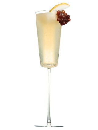 1 oz. white rum1 oz. pureed pear1 oz. lemon juice1 oz. champagne½ oz. simple syrup (dissolve one part sugar in one part boiling water; let cool)½ oz. dark rumShake everything but the champagne and dark rum with ice. Pour champagne into a glass, then add pear mixture and dark rum.Source: Rain Lampariello, Chinatown Brasserie, New York City