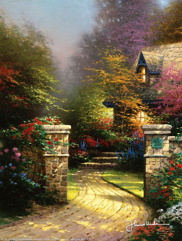 """Rose Gate by Thomas Kinkade ---  In the first of a trio of coordinated paintings in honor of my beautiful baby, Winsor, we enter through the floral opulence of Rose Gate. Two ancient stone columns guard the entrance; a weathered copper plaque bears the crest of the manor, an interlocking """"W & M.""""  — Thomas Kinkade"""