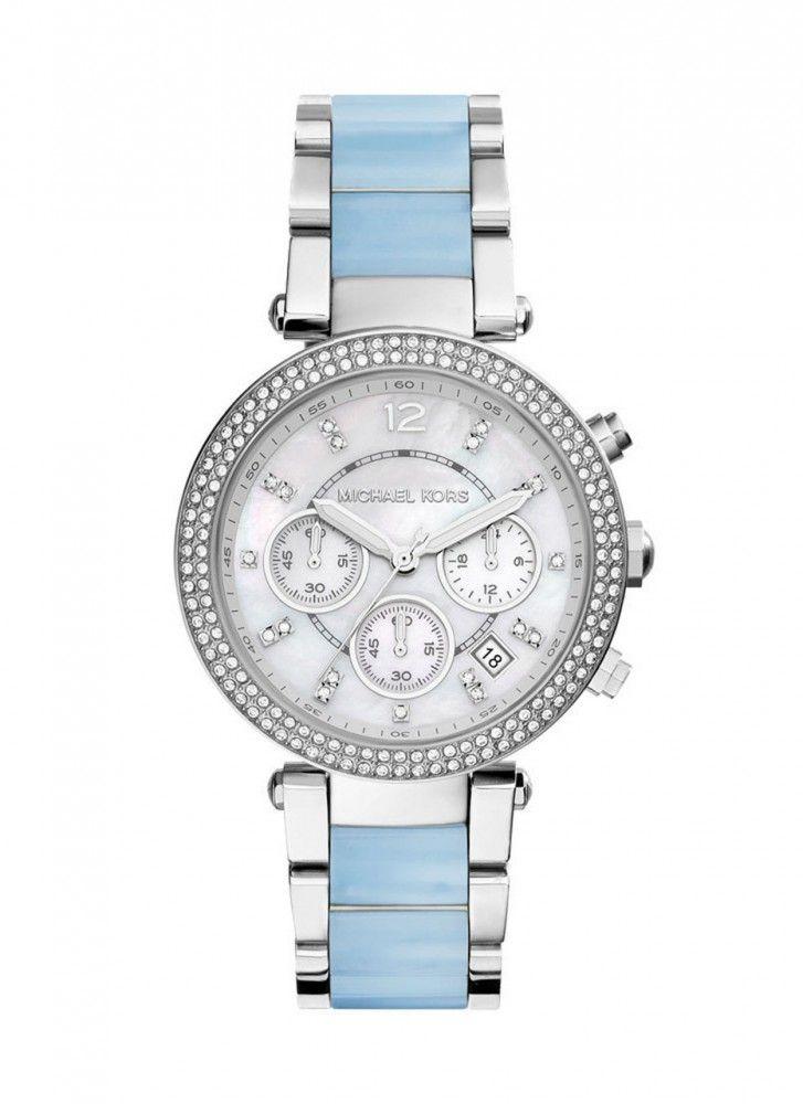 Original Michael Kors Cronograph Damen MK 6137 NEU Uhr 299€ Keramik Blau Silber Armbanduh