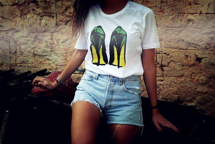 Heels,boyfriend T,100% organic cotton.