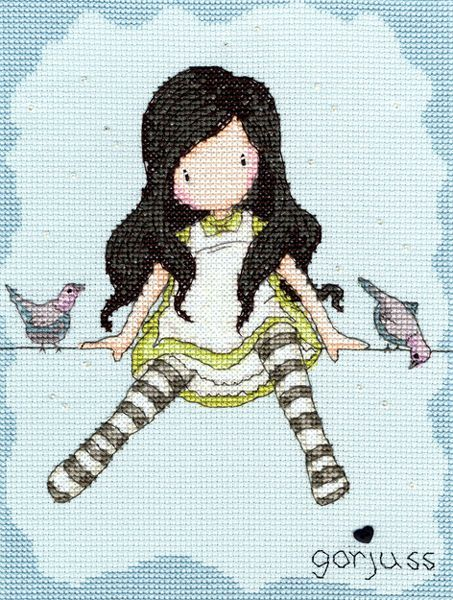 The cute cartoon girl with the stripey socks sitting on a telephone wire with the birds.