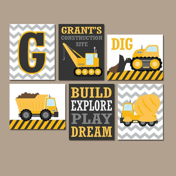 Construction Trucks, Truck Wall Art, Construction Art, Dump Truck Wall Art, Construction Nursery, Construction Prints, Construction Decor, Big Boy Room, Transportation Theme, Boy Birthday Gift, Choose Your Colors This cute set of construction trucks is sure to inspire your little builder!