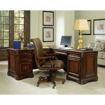 Free Shipping. Can you imaging the relaxed feeling this tropical inspired desk will give you while you work? Gorgeous carved features, leather wrapped legs, and warm Plantation finish. Features one full extension file drawer on left side, 2 drawers on right side (facing), frop front center keyboard and shelves for more storage. The Island Estate Collection by Tommy Bahama lends inspiration to tropical design through a rich blending of natural materials, textures and exciting new finishes…