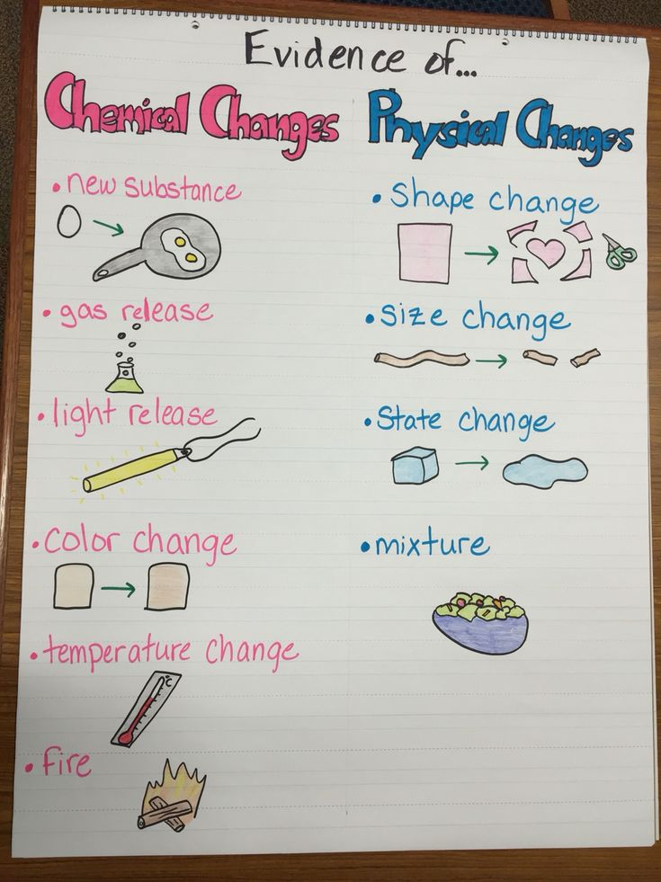 Evidence of physical and chemical changes anchor chart