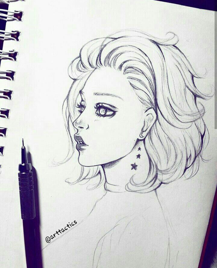 Pin By Mina Gho On Art Short Hair Drawing Girl Drawing Sketches How To Draw Hair