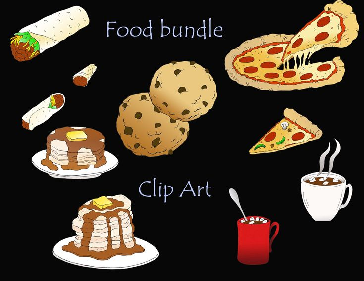 Food clipart, teacher clipart, pizza, burrito, hot chocolate, pancakes, cookies, recipes, scrapbook, recipe clipart, downloadable art by VinitaArt on Etsy