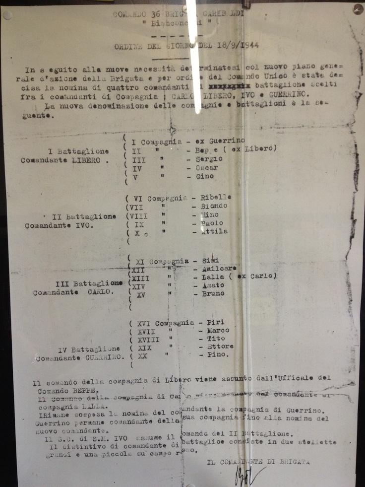 Ordine del giorno  18/09/1944 Comando 36° Brigata Garibaldi Museo della Resistenza di #camalanca #invasionidigitali #25aprile