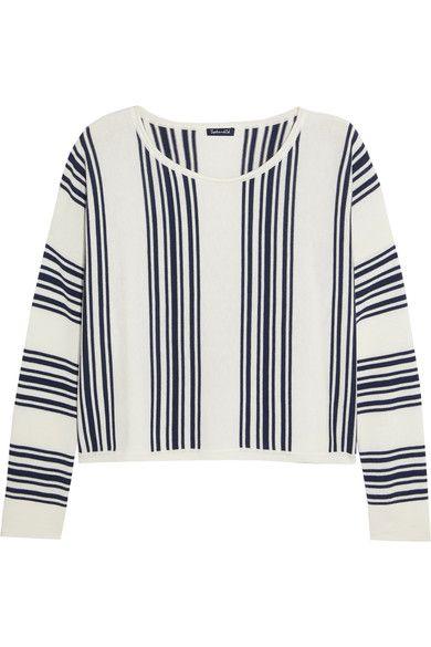 Splendid - Bayside Striped Stretch-knit Sweatshirt - Off-white - x large