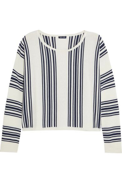 Splendid - Bayside Striped Stretch-knit Sweatshirt - Off-white - x large