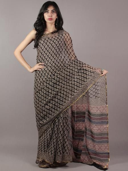 Black Beige Red Blue Hand Block Printed Chiffon Saree - S031701850