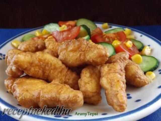 Csirkecsíkok fokhagymás-tejfölös bundában recept