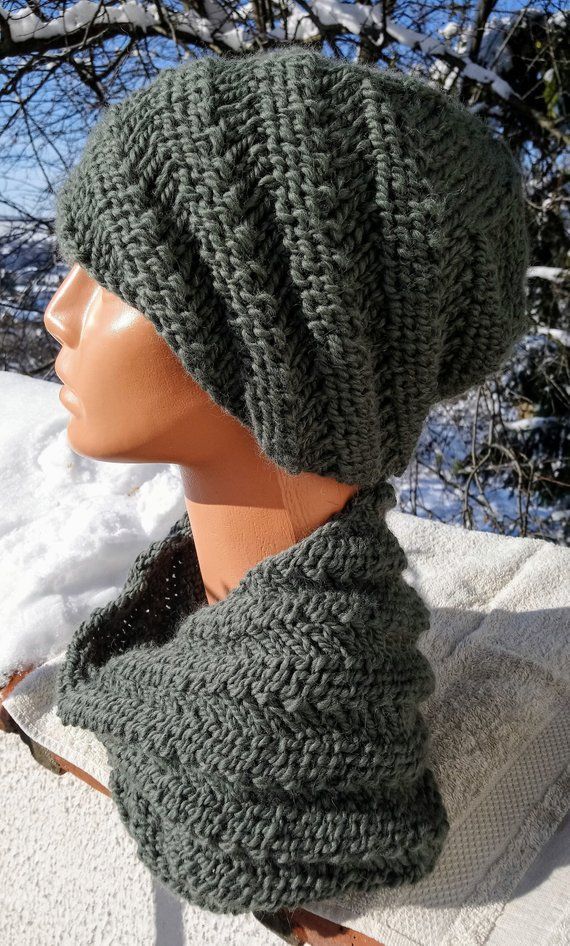 a583a5e9b79 Hand knitted hat and cowl set - Chunky knit beanie and neck warmer - Spiral  pattern beanie hat and cowl in wool alpaca mix in moss green