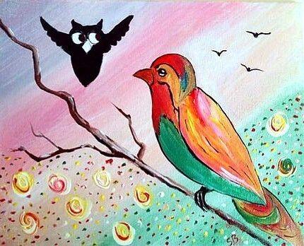 Owl Bird Art, Giclee Print Of Original, Colourful, Nursery Deco, Wall Hanging    £12.95