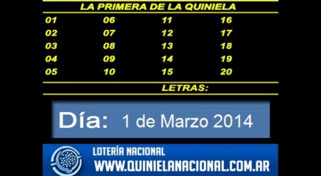 Loteria Nacional - La Quiniela Nacional Primera Sabado 1 de Marzo de 2014. Fuente: www.quinielanacional.com.ar