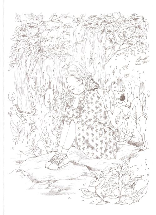 Forest Girl Coloring Book Aeppol