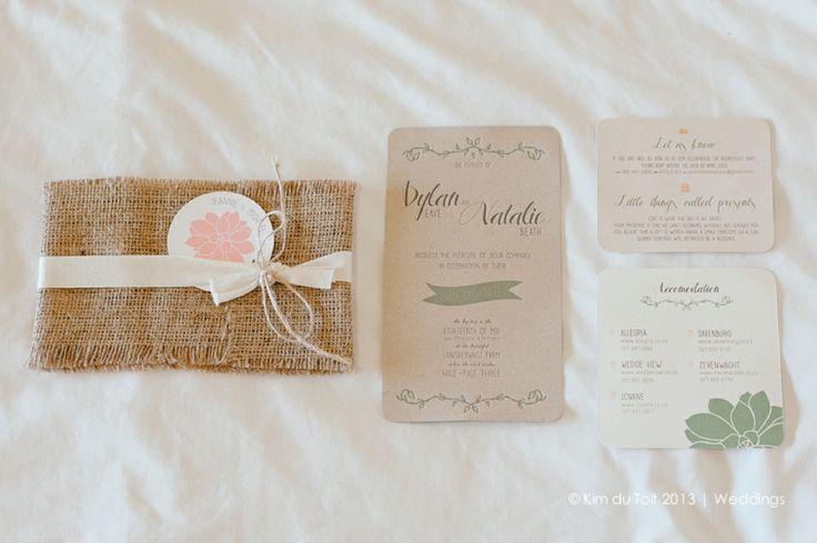 DYLAN & NATALIE | Rustic Wedding Invitations #wedding # invitations #letterpress #green #pink #rustic #hessian