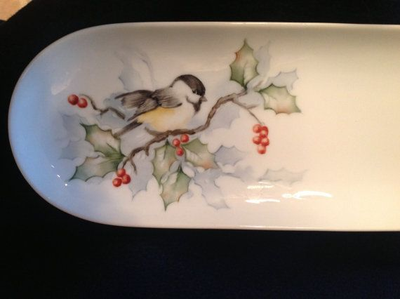Hand painted serving tray with holly and chickadee. Great for the holidays