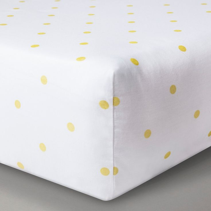 Circo Woven Fitted Crib Sheet - Gold Dots, White/Gold