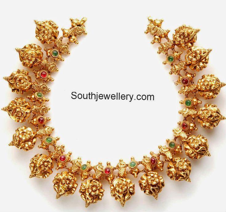 antique finsih nakshi balls necklace