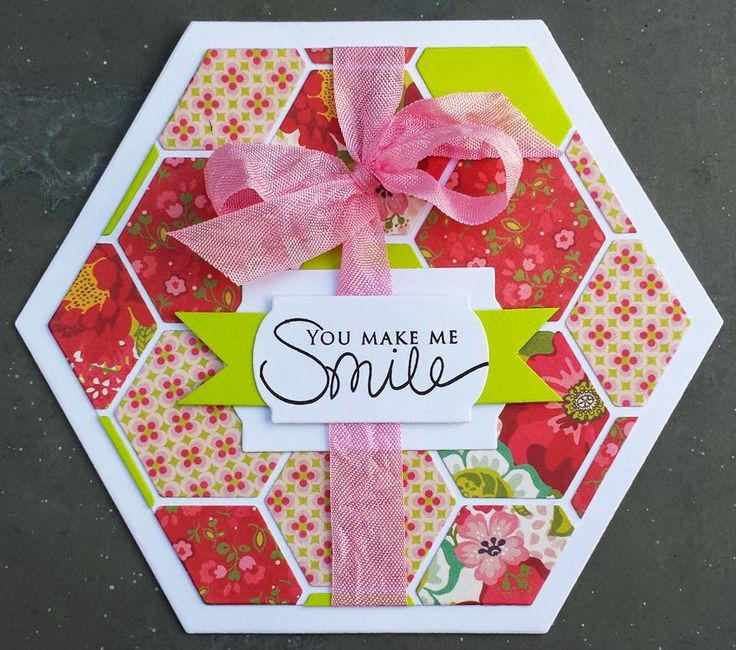 Crafting ideas from Sizzix UK: Hexagon greetings by Cecilie Malling