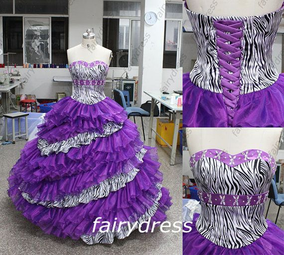 Ball Gown Gothic Elegant Zebra Print Dress Wedding Gown Party Dress Prom Dress Evening Dress
