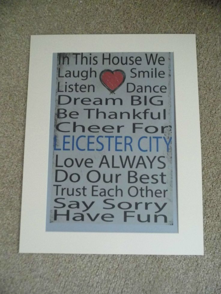 """LCFC Leicester City Football Club Inspirational Quote Print Picture. """"In this house we laugh smile listen dance dream big be thankful cheer by Aveegotun on Etsy"""