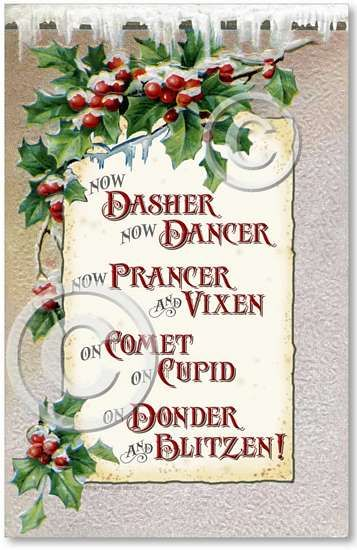 names of santa's reindeer | Item 1412 Victorian Christmas Reindeer Plaque