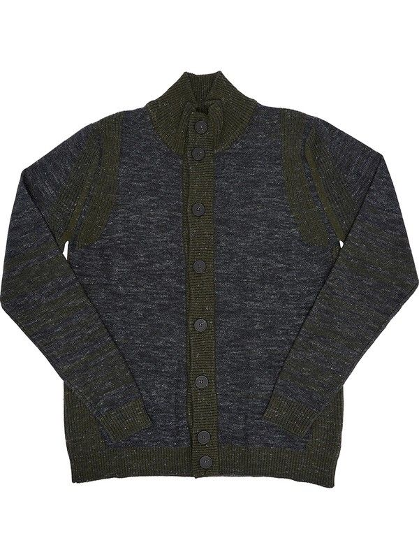 Green and gray knitted turtleneck Cardigan for men +39 Masq