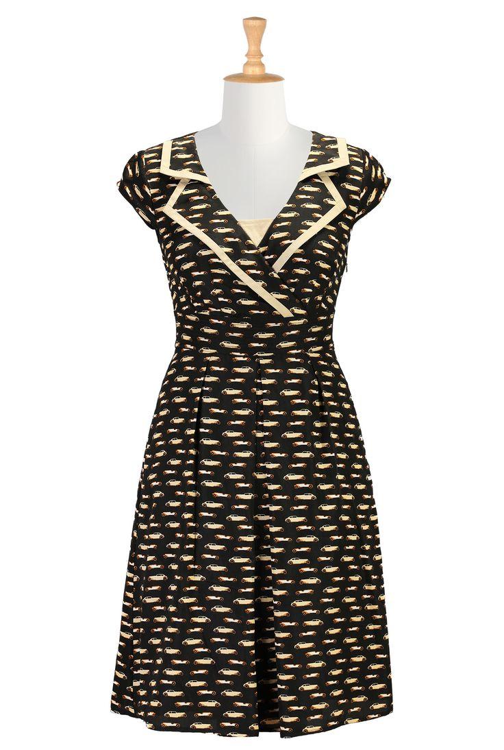 Vintage Car Print Dresses, Notch Collar Retro Dresses Women's stylish dress - Evening Dress, Cocktail Dress, Prom Dress, and Party Dress from eShakti - | eShakti.com