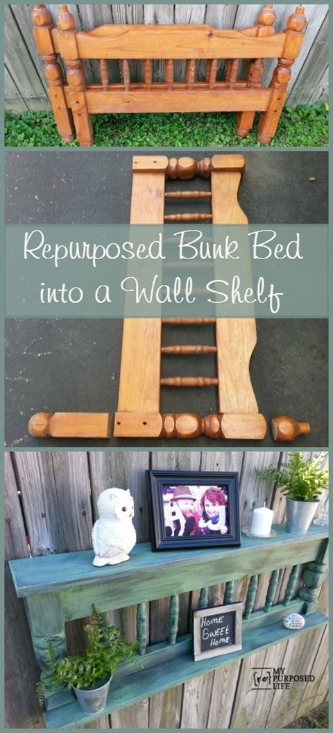 My Repurposed Life makes a useful wall shelf out of a repurposed bunk bed @repurposedlife