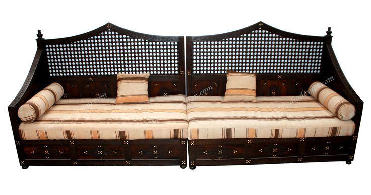 Bone Inlay and Carved Wood Bench - CW-B010,  (http://www.badiadesign.com/upscale-furniture-los-angeles-cw-b010/), Bench, wooden bench, Moroccan wooden bench, Moroccan furniture, sofa, sofa cushion
