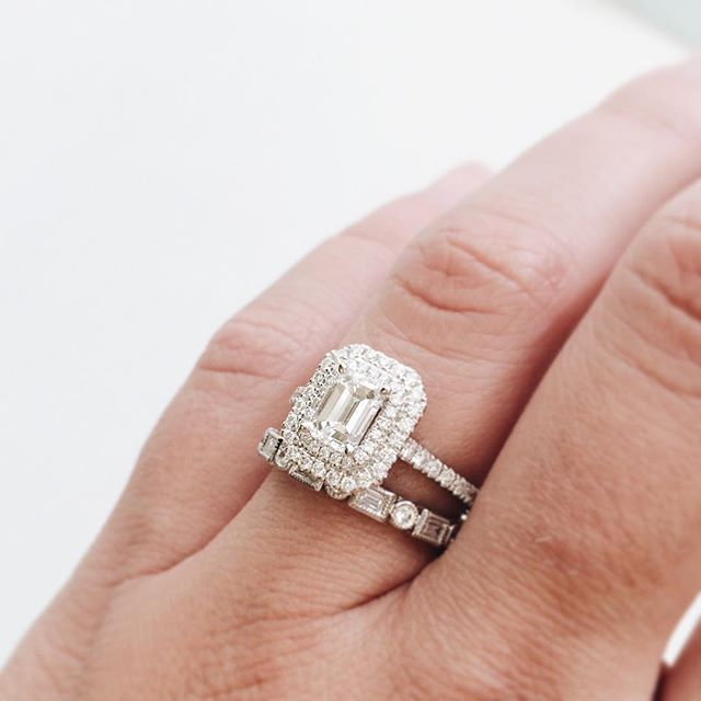 Who Says Your Wedding Band Has To Be A Perfect Match We Love Little Emerald Cut Engagement RingsEmerald