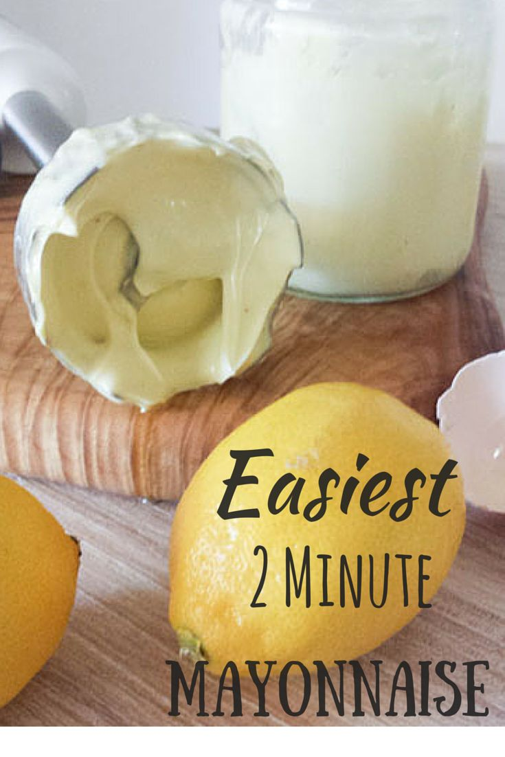 Super easy mayonnaise made in a jar with a stab blender. It seriously only takes 2 minutes www.livecookeat.com