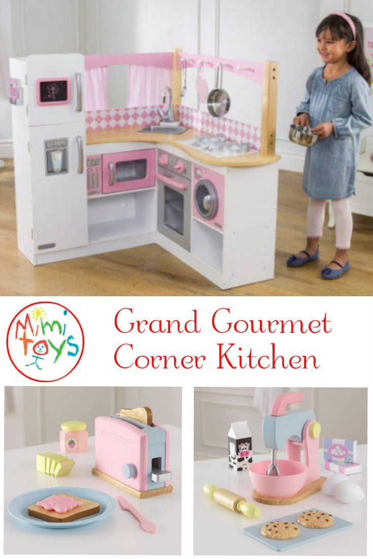 Role Play helps children play out everyday adult scenarios in order to progress their understanding of their world. Kidkraft Grand Gourmet Corner Kitchen is sure to keep children busy doing this. Features of this Wooden Play Kitchen: washing machine, oven, microwave, refrigerator and freezer doors all open and close