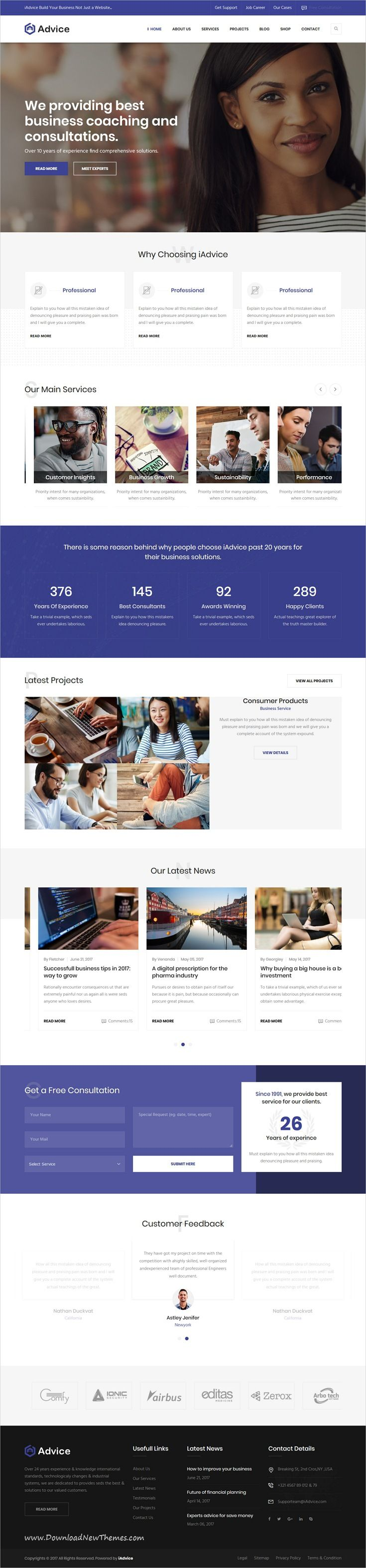 iAdvice is clean and modern design responsive #bootstrap HTML template for business #consulting and professional services #website to live preview & download click on Visit