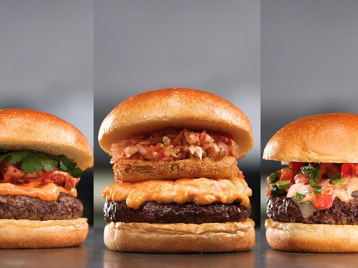 World's Best Burger and the Hacks That Make It | These succulent burgers can be customized with any toppings you like. Skip the traditional ones listed below, and sub any of the following for a variety of flavor profiles. For a Korean burger: Top with kimchi, gochujang mayonnaise, and fresh cilantro leaves. For a Mexican burger: Top with avocado, pico de gallo, pepper Jack cheese, and chipotle mayonnaise. For a Southern-inspired burger: Top with fried green tomatoes, chow-chow, and pimiento…