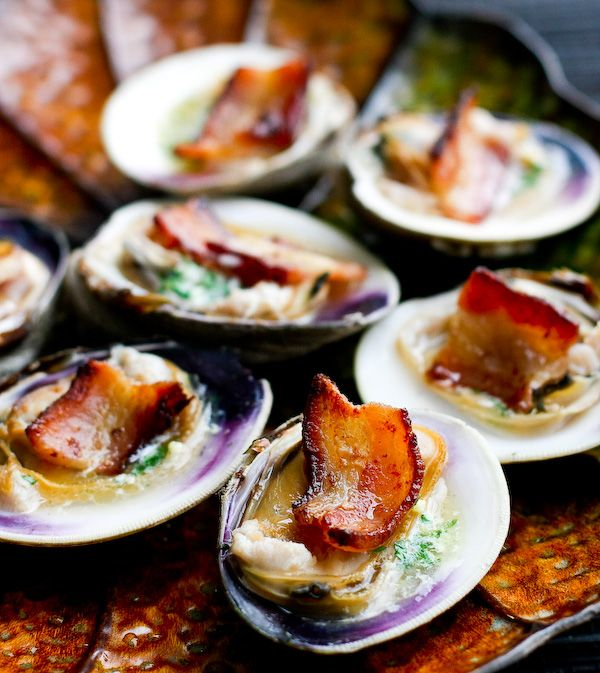 "SteamyKitchen's ""Clams Casino"" without the breading"