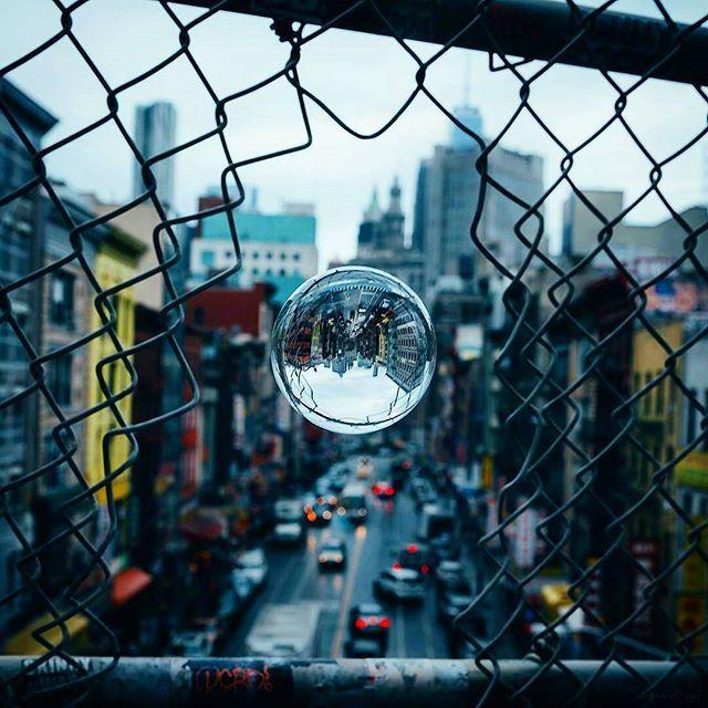 Insanely bold urban crystal ball photography by @mindz.eye