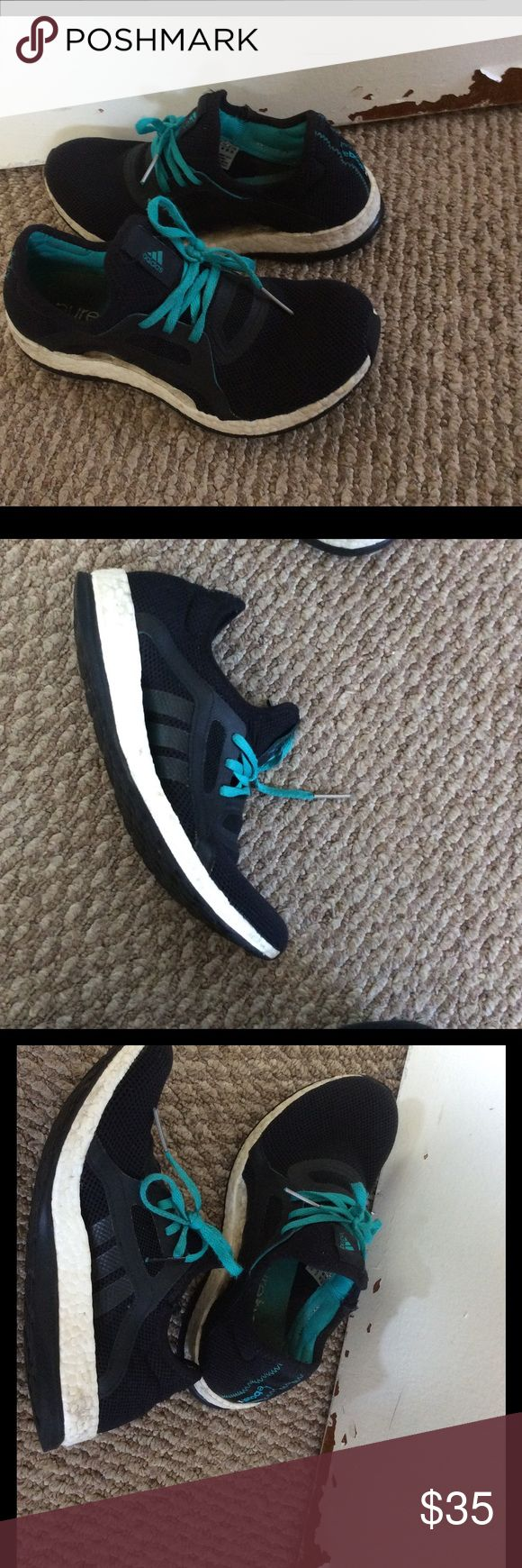 Adidas pure boost black and teal 8 Pure boost in good used condition. Lots of life left, size 8 Adidas Shoes Athletic Shoes