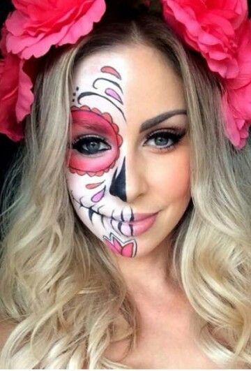 Halloween half sugar skull More
