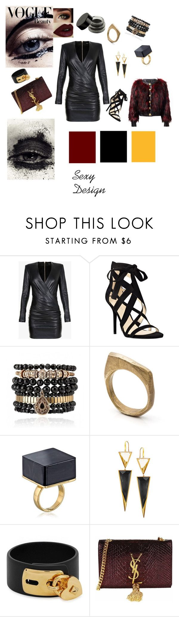 Sexy Design by loredanacossu on Polyvore featuring moda, Balmain, Nine West, Yves Saint Laurent, Lana, Valentino, Samantha Wills and by / natalie frigo