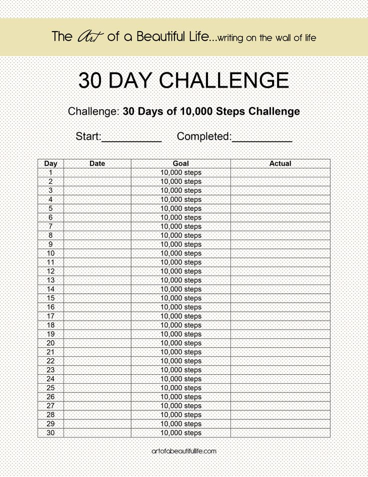 10,000 Steps a Day for 30 Days - Let's do it!   BLOG {The Art of a Beautiful Life} #fitness #challenge #fitbit http://artofabeautifullife.com/free-printable-30-day-challenge/30-day-challenge-10000-steps/