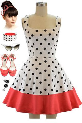 50s Style BLACK POLKA DO...