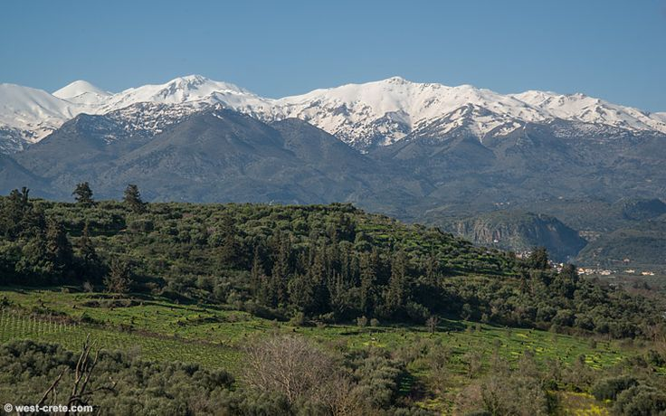 View of the White Mountains from Kalyves -  click on the image to enlarge