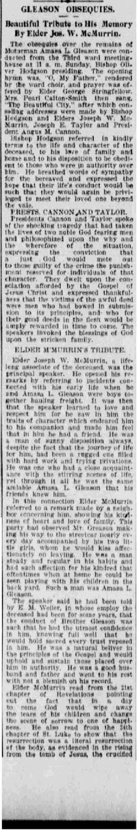 "Amasa Lyman Gleason, report on funeral sermons, ""Deseret News,"" January 11, 1904"