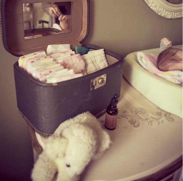 Diaper Storage Ideas. Oh, now that is cute.