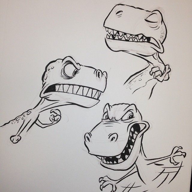 #trex #tyrannosaurus #tyrannosaurusrex #breaksketch #brushpen #cartoon #dinosaur #characterdesign
