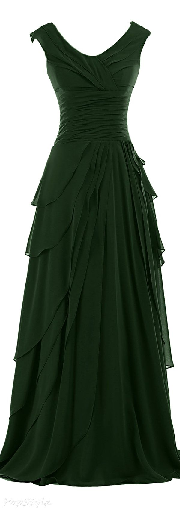 Sunvary Ruffled Chiffon A-Line Evening Gown